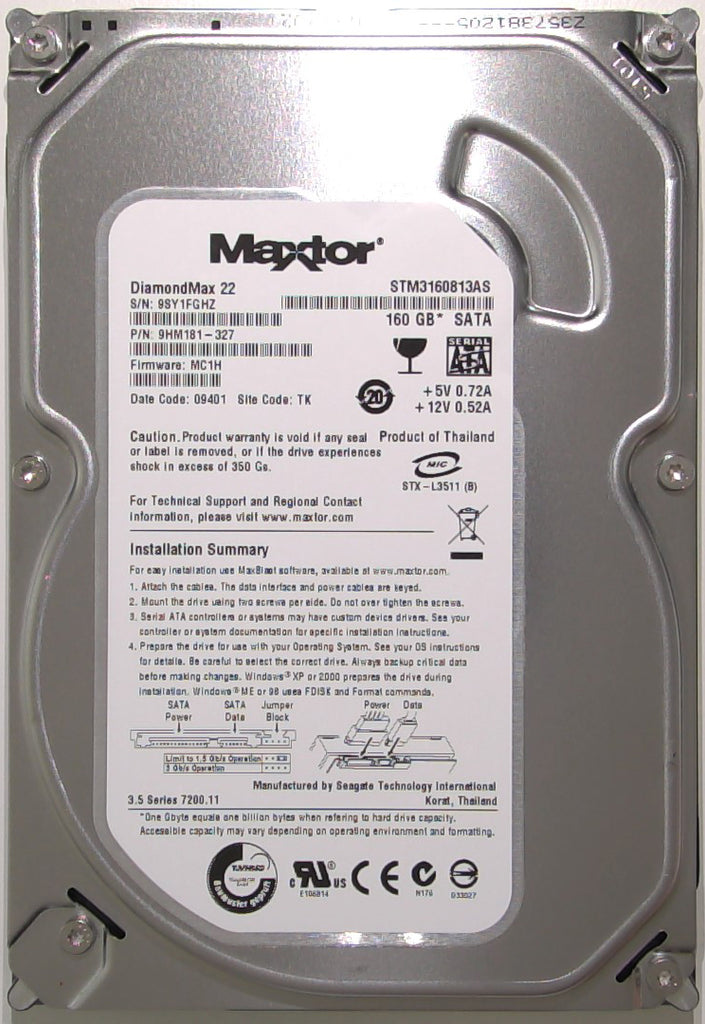 Maxtor STM3160813AS, 9HM181-327, 9SY, MC1H, TK, 100504364 REV B, 160GB, 3.5'' SATA Hard Drive with Bad Sectors