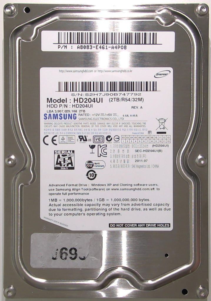 "Samsung HD204UI, 1AQ10001, BF41-00314A 00, 2TB, 3.5"" SATA Hard Drive with Bad Sectors"