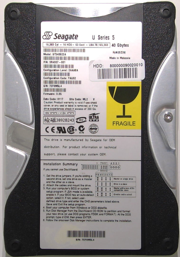 Seagate ST340823A, 9R4007-001, 7EF, 3.05, ML2, 100104617 REV A, 40GB, 3.5'' IDE Hard Drive with Bad Sectors