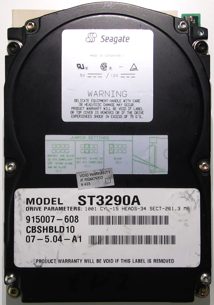 Seagate ST3290A, 915007-608, CBS, Singapore, 22091-300, 261MB, 3.5'' IDE Hard Drive