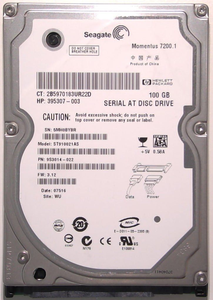 "Seagate ST910021AS, 9S3014-022, 3.12, WU, 100397877 REV D, 100GB, 2.5"" SATA Hard Drive"