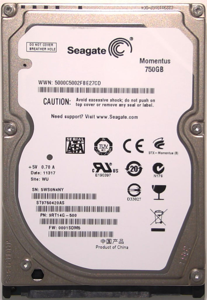"Seagate ST9750420AS, 9RT14G-500, 0001SDM5, WU, 100619769 REV A, 750GB, 2.5"" SATA Hard Drive"