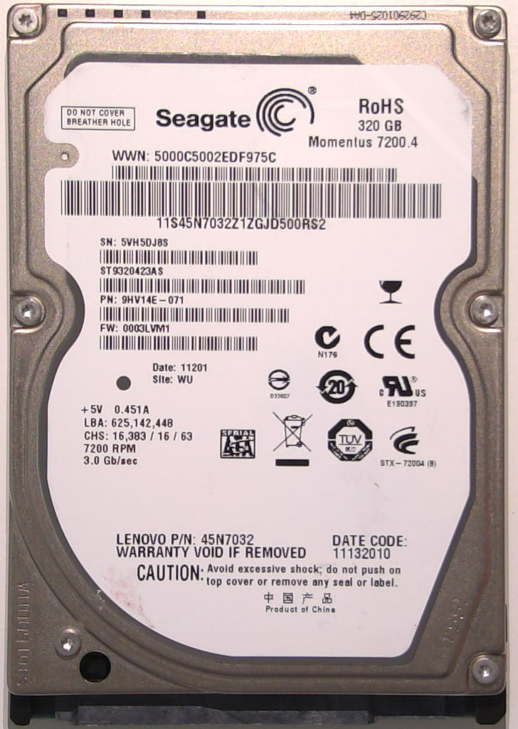 "Seagate ST9320423AS, 9HV14E-071, 0003LVM1, WU, 100565308 REV A, 320GB, 2.5"" SATA Hard Drive"
