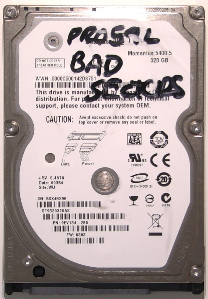 "Seagate ST9320320AS, 9EV134-285, 0303, WU, 100513491 REV A, 320GB, 2.5"" SATA Hard Drive"