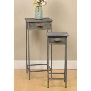 [shop name]:Galvanized Metal Industrial Style Side Tables- Set of 2