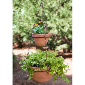 [shop name]:Clay Terra Cotta Pot Handmade Hanging Two Tier Chain Plants Herbs Garden Yard