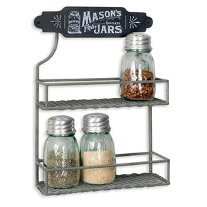 [shop name]:Mason Jar Two Tier Spice Rack with Set of 2 Glass Mason Jar Shakers