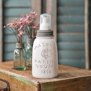 [shop name]|White Midget Pint Mason Jar Foaming Soap Dispenser:Soap Dispenser