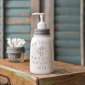 [shop name]|White Midget Pint Mason Jar Soap Dispenser with White Pump:Soap Dispenser