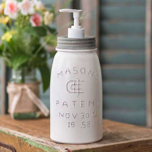 [shop name]|White Quart Mason Jar Soap Dispenser with White Pump:Soap Dispenser