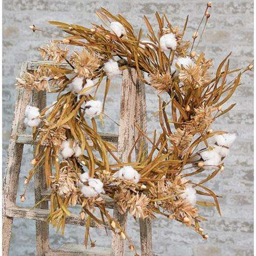 "[shop name]|22"" Fall Grass Cotton Wreath:Floral Decor"