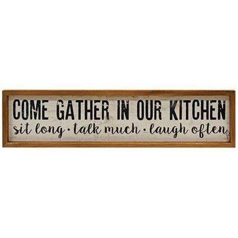 "[shop name]|24"" Framed Gather in Our Kitchen Sign:Wall Decor"