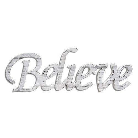 "[shop name]|34"" Believe White Wood Cutout Sign:Wall Decor"