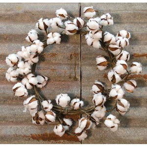 [shop name]|Country Cotton Ball Pod Wreath- 16 in.:Fall Decor