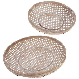 [shop name]|Flat Round Woven Baskets- Set of 2:Other Accent Decor