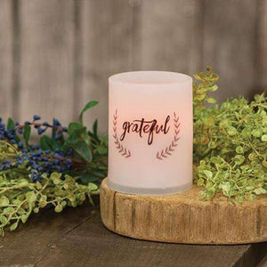 "[shop name]:Scripted Battery-Operated Pillar Candle,4"" Grateful"
