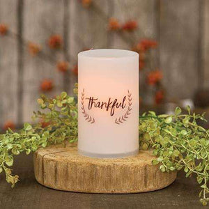 "[shop name]:Scripted Battery-Operated Pillar Candle,5"" Thankful"