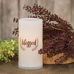 "[shop name]:Scripted Battery-Operated Pillar Candle,6"" Blessed"