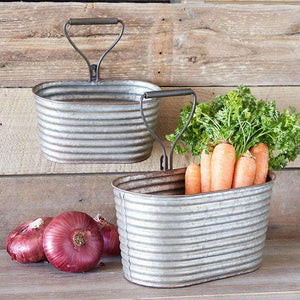 [shop name]|Galvanized Metal Rustic Wall Mounted Buckets:Garden & Plant Accessories