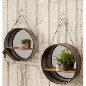 [shop name]|Galvanized Round Wall Mirrors with Shelf- Set of 2:Wall Decor & Accessories