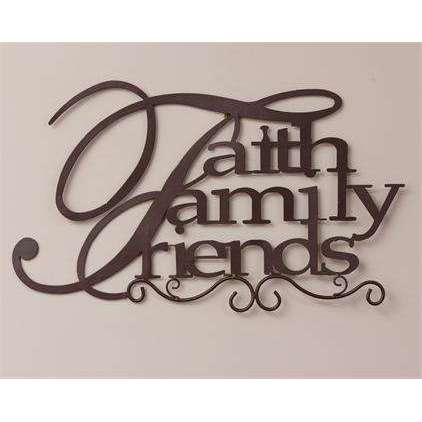 "[shop name]|Large ""Faith, Family, Friends"" Metal Wall Sign:Wall Decor"