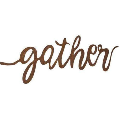 [shop name]|Large Gather Rustic Metal Word Sign:Wall Decor & Accessories