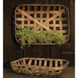 [shop name]|Large Rectangular Tobacco Baskets- Set of 2:Floral Decor