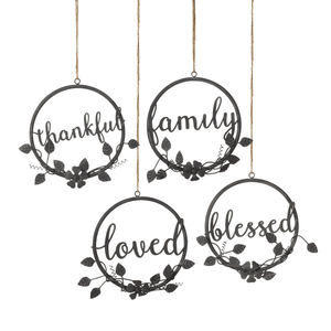 [shop name]|Loved Family Blessed and Thankful Round Wall Decor with Flowers:Wall Art & Signs