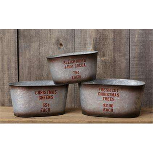 [shop name]|Metal Christmas Buckets- Set of 3:Winter Decor