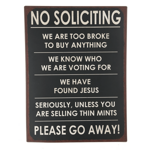 [shop name]|No Soliciting Metal Sign:Wall Art & Signs