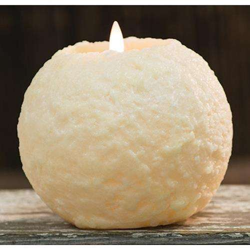 "[shop name]:Round Cake LED Flicker Candle, Ivory,5.25"" Tall"