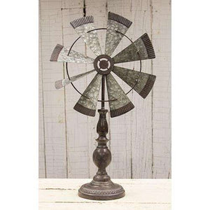 [shop name]|Rustic Windmill Pedestal:Other Accent Decor