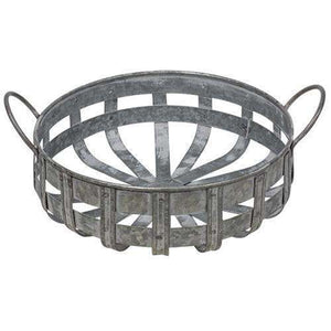 [shop name]|Washed Galvanized Metal Basket with Handles:Floral Decor