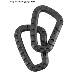 1 x Black Tactical Carabiner Kombat Carabina Pair Military - Bear Essentials Clothing Company