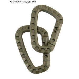 2 x Olive Green Tactical Carabiner Kombat Carabina Pair Military - Bear Essentials Clothing Company