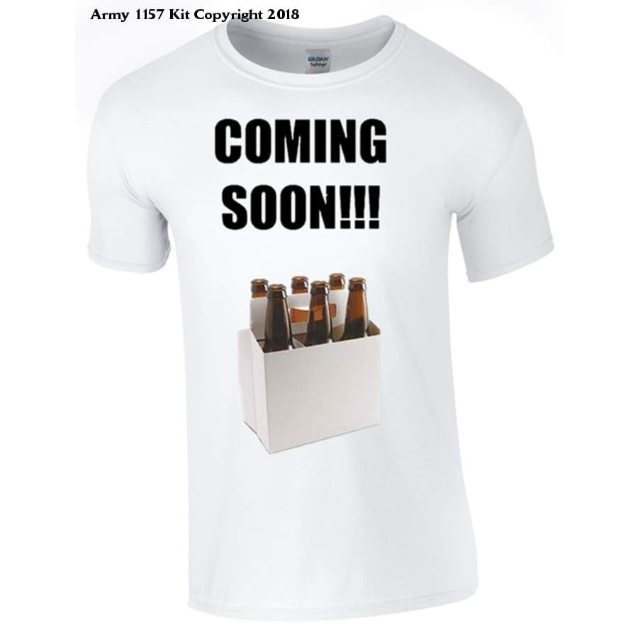 6 Pack coming soon Novelty T-Shirt - Bear Essentials Clothing Company