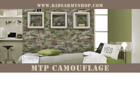 Kids Army Multi Terrain Camouflage Wallpaper - 10.5m Roll Of MTP Camo Wallpaper - Bear Essentials Clothing Company
