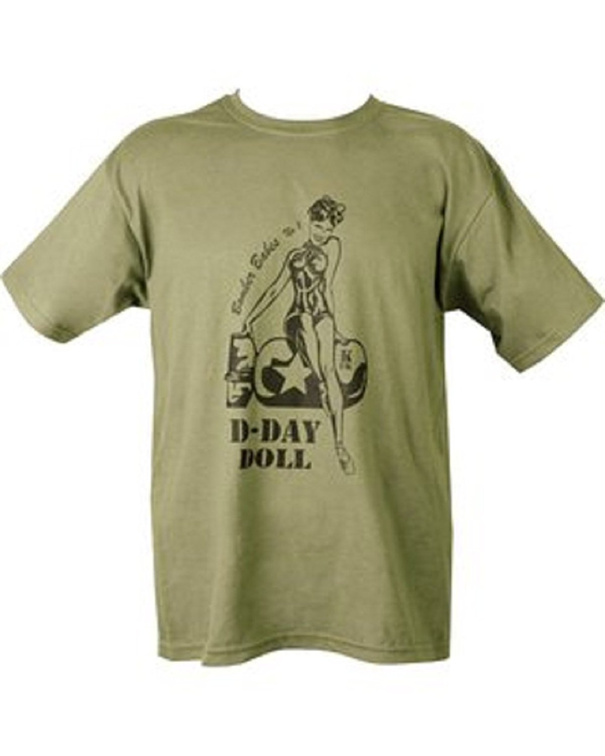 Kombat Mens Military Printed Army Combat World War 2 WW2 British US Army D-Day Doll Sexy Lady T-shirt Tshirt - Bear Essentials Clothing Company