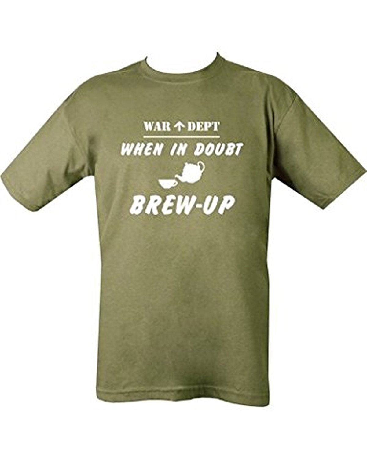 Kombat Mens Military Printed Army Combat US When In Doubt Brew Up T-shirt Tshirt War Dept (XL = Chest 110-112cm or 46-48 inch) - Bear Essentials Clothing Company