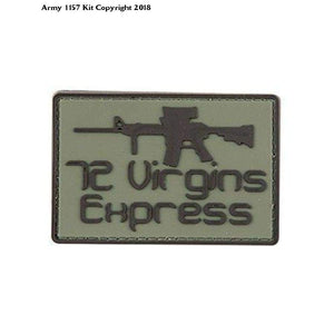 72 Virgin Express Funny PVC Rubber Badge Military Tactical Patch Velcro Back - Bear Essentials Clothing Company
