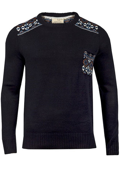 Bear Essentials Clothing Company Brave Soul Mens Pattern Knitted Pullover (S, Blue) - Bear Essentials Clothing Company