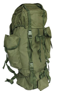 60L Cadet Rucksack with side pockets - Olive - Bear Essentials Clothing Company