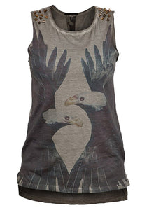 Bear Essentials Clothing. Ladies Sleeveless Top With Spike Studs To Shoulders (6) - Bear Essentials Clothing Company