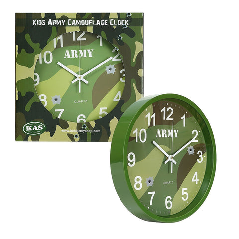 Kids Army Woodland Camo Clock, Bedroom or Den Clock - Bear Essentials Clothing Company