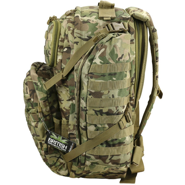 Kombat UK   Unisex Outdoor Commander Backpack available in British Terrain Pattern - One Size - Bear Essentials Clothing Company