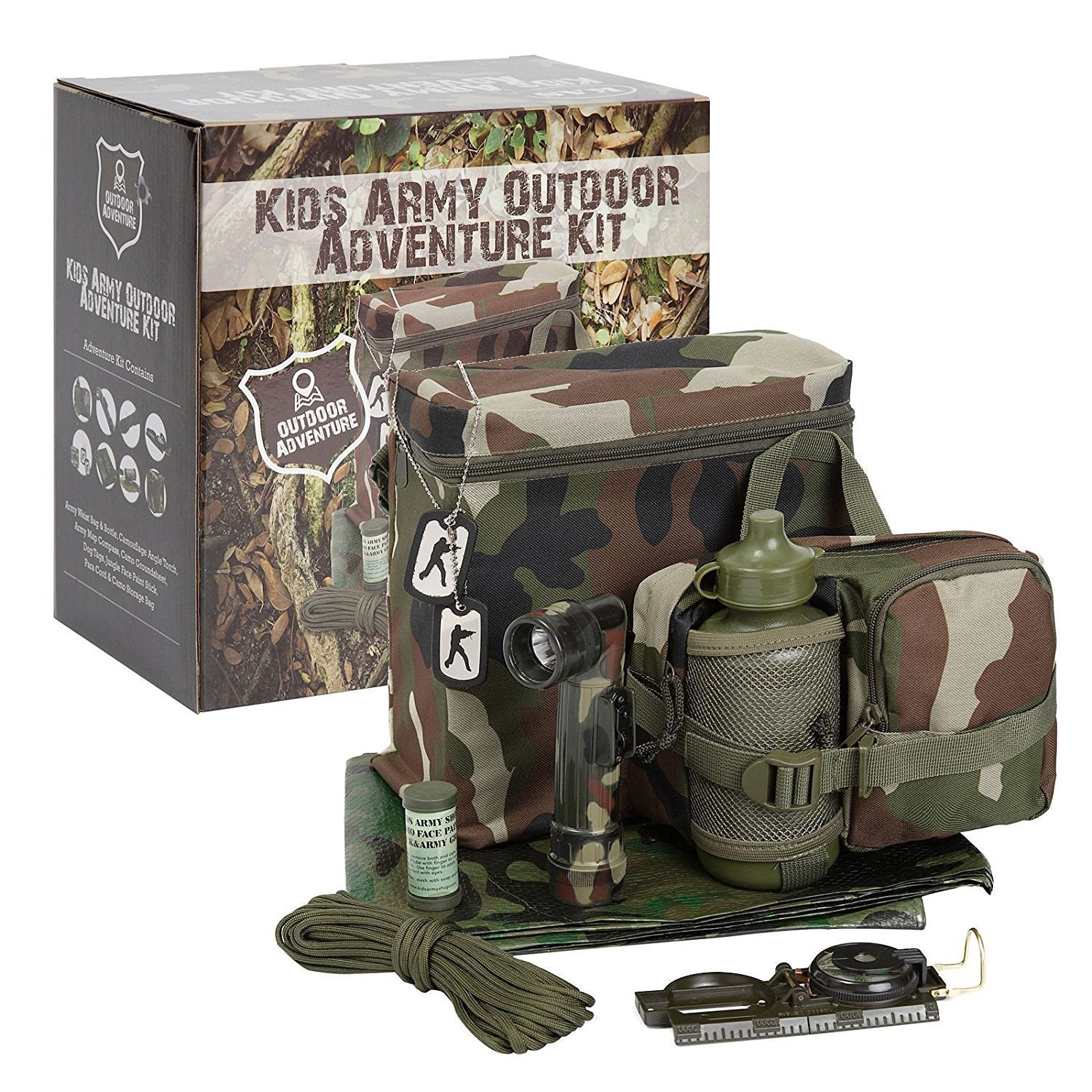 Kids Army Outdoor Adventure Kit - Camouflage Den Kit - Bear Essentials Clothing Company