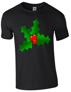 Christmas Holly T-Shirt - Bear Essentials Clothing Company