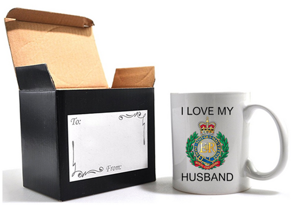 Valentine Royal Engineer I Love my Husband Mug and Gift Box set Ministry of Defence Official MOD Approved Merchandise