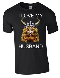 Valentine I Love my Viking Husband T-Shirt Printed DTG (Direct to Garment) for a permanent finish.