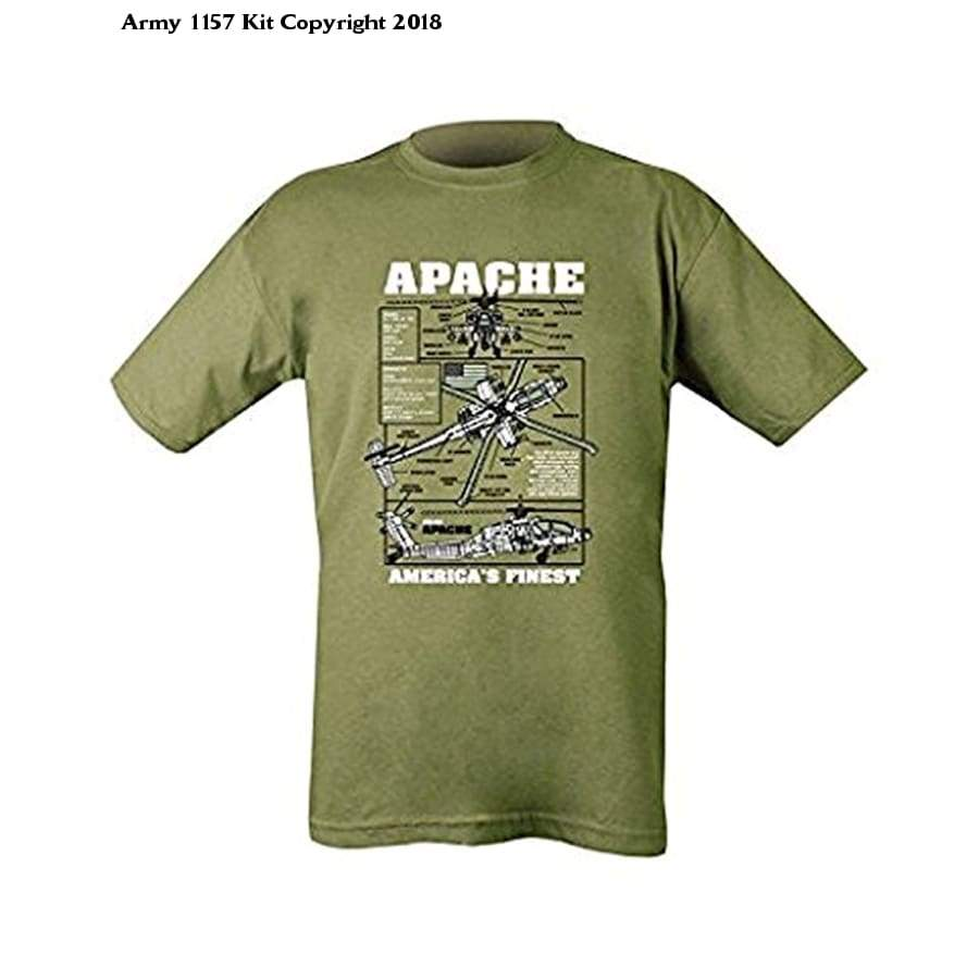 Apache Attack Helicopter Printed Cotton T-Shirt Olive Green Mens Military Forces - Bear Essentials Clothing Company